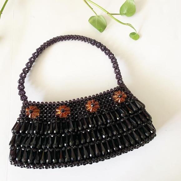 Vintage floral beaded baguette shoulder purse Y2K